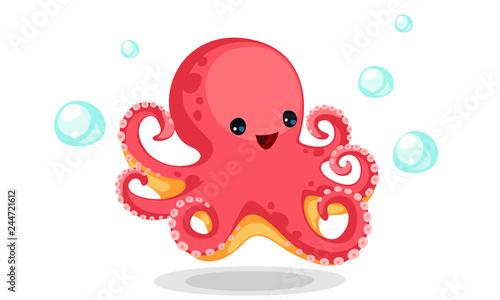 Cute red octopus cartoon Billede på lærred