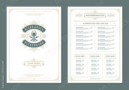 Fotografia Restaurant menu design and logo vector brochure template.