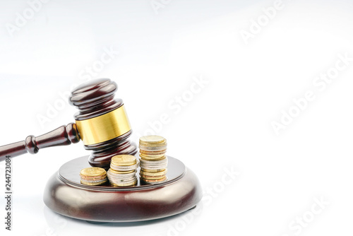 Wood gavel with legal law concept. Wallpaper Mural