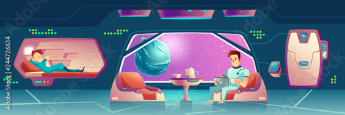Fototapeta Vector illustration with a bedroom at spaceship with astronauts