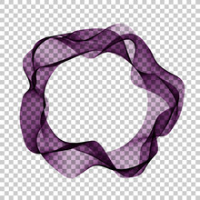 Design Elements. Wave Many Purple Circle Lines Of A Ring On A Transparent Background Isolated.