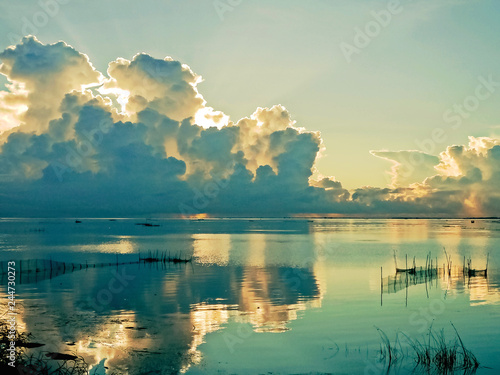 Fototapeta Beautiful sunrise at the Chilika Lake, Odisha state in India
