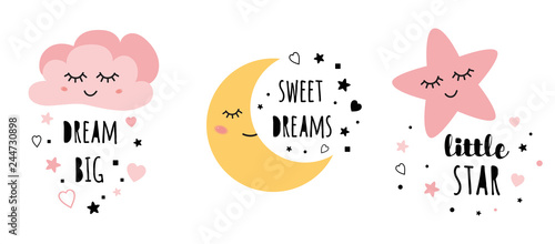 Obraz Vector pink sleepy moon star cloud kids designs Childish style pink color - fototapety do salonu