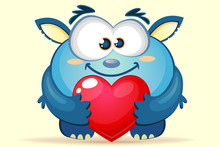 Cute Cartoon Blue Monster With...