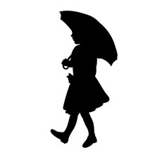 Black Silhouette Of A Child Girl With An Umbrella