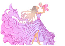 Illustration Of A Beautiful Young Woman In A Long Fluttering Dress And With Long Hair Holding A Little Baby Girl. Vector Color Illustration Isolated On White Background