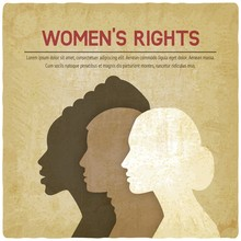 Women Rights Concept. Three Of The Female Profile