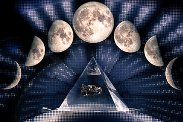 Phases of the Moon: waxing crescent, first quarter, waxing gibbous, full moon, waning gibbous, third guarter, waning crescent, new moon. Sacred geometry, The elements of this image furnished by NASA.