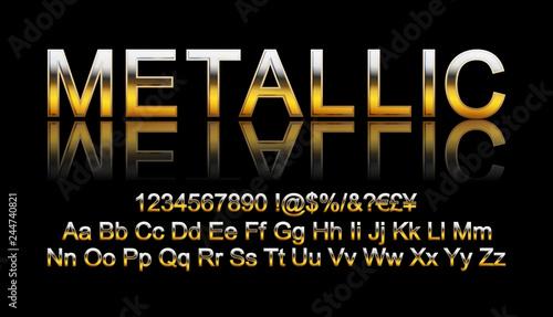 Valokuva  Metallic gold font.
