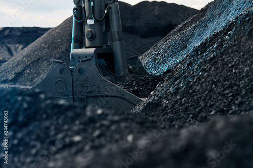 Canvas-taulu Coal loading excavator, heaps of coal in blue light.