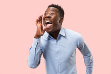 Do Not Miss. Young Casual Man Shouting. Shout. Crying Emotional Man Screaming On Pink Studio Background. Male Half-length Portrait. Human Emotions, Facial Expression Concept. Trendy Colors