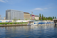 Banks Of The River Spree With The East Side Gallery, Eastern Comfort Hostel Boat And Floating Lounge In Berlin