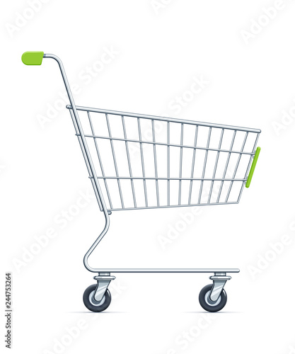 Carta da parati Shopping cart for supermarket products. Shop equipment.