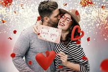 Verliebtes Pärchen Mann Und Frau Zum Valentinstag Beschenkt Sich Mit Rosen Und Herzen