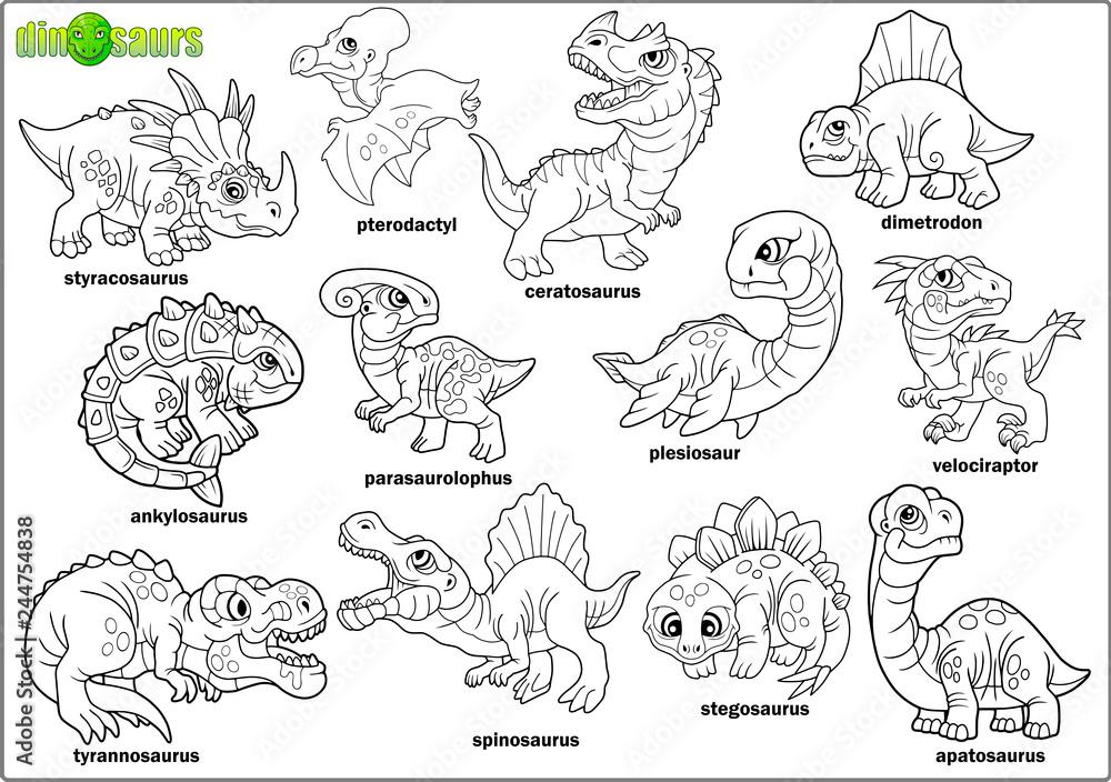 Photo & Art Print cute cartoon prehistoric dinosaurs ...