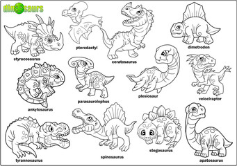 cute cartoon prehistoric dinosaurs, coloring book, set of images