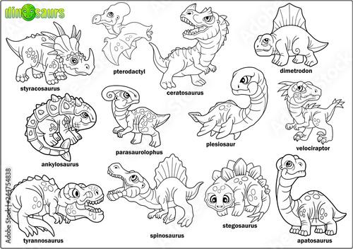 cute cartoon prehistoric dinosaurs, coloring book, set of images