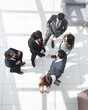 from the top view. business meeting partners
