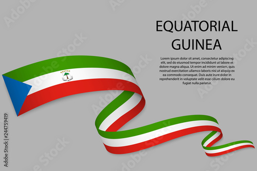 Fotomural  Waving ribbon or banner with flag