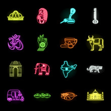 Country India Neon Icons In Set Collection For Design.India And Landmark Vector Symbol Stock Web Illustration.