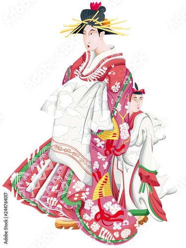 illustration d'une geisha et son élève Fototapet