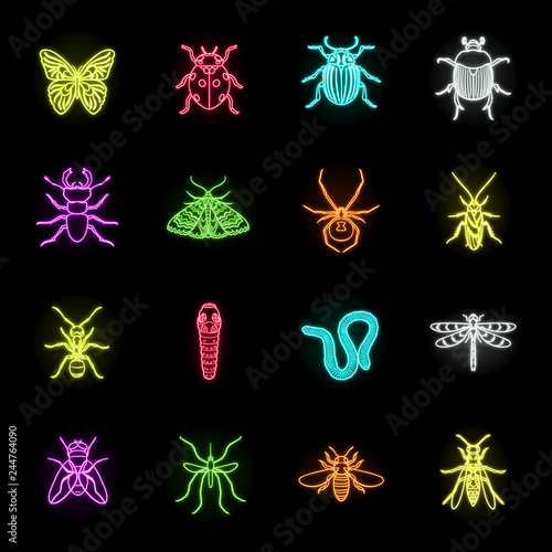 Photo Different kinds of insects neon icons in set collection for design
