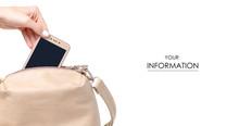 Female Beige Leather Bag In Ha...