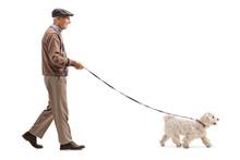 Senior Walking A Dog
