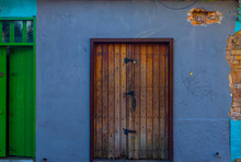 Artisan Door Made Of Wood, Wall Of Grapes Lilac, Houses In The Colonial Center Of Embu Of The Arts