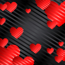 Romantic Background With Red Hearts On A Black Background With Silk Stripes, Wallpaper. Vector Illustration Eps 10