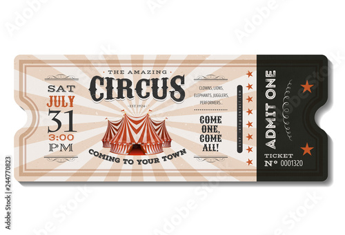 Vintage Circus Ticket/ Illustration of a vintage and retro design circus ticket, Canvas Print