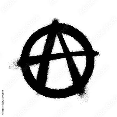 Photo Sprayed anarchy symbol with overspray in black over white