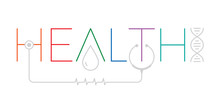 Health Word Logo. Health Word With Health Symbols