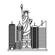 statue of liberty city skyscraper