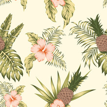 Tropical Botanical Seamless Pattern Exotic Design Beige Background
