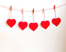 Red Heart Paper Cut With Natural Cord And Red Clips Hanging On White Background, Copy Space,valentines Day - Image