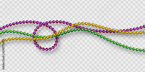 Foto  Mardi Gras beads in traditional colors