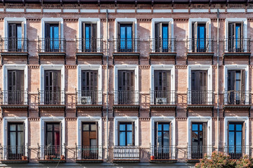 facades of classic building in downtown in madrid spain