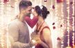 canvas print picture - Paar Valentine Frau Mann vor Lichterhintergrund Kino Banner