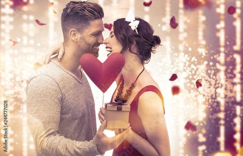 Photo  Paar Valentine Frau Mann vor Lichterhintergrund Kino Banner