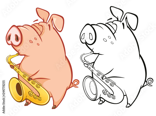 Foto op Plexiglas Babykamer Vector Illustration of a Cute Pig Musician. Coloring Book Cartoon Character