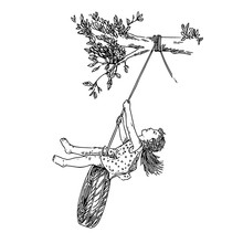 Little Girl Playing On Tire Swing. Sketch. Engraving Style. Vector Illustration.