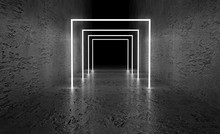 Monochrome Dark Background Of Empty Space. Grunge Concrete Walls And Floor, Neon Light, Smoke. 3d Illustration
