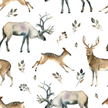 Watercolor Realistic Forest Animal Sketch. Seamles Pattern About Deer, Stag, Moose And Leaves