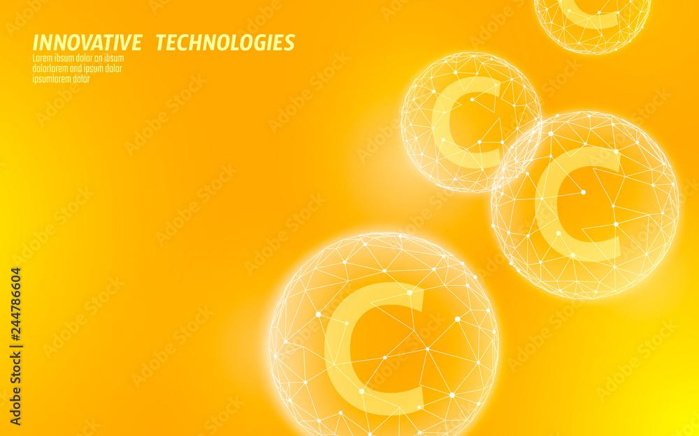 Fototapeta Vitamin C low poly sphere bright orange color. Health supplement skin care anti-aging cosmetics ad complex flu treatment. Medicine science banner template vector illustration