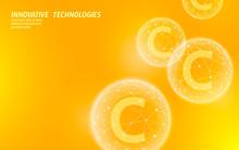 Vitamin C Low Poly Sphere Bright Orange Color. Health Supplement Skin Care Anti-aging Cosmetics Ad Complex Flu Treatment. Medicine Science Banner Template Vector Illustration