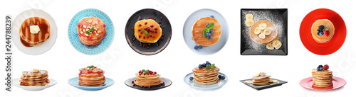 Set of plates with delicious pancakes and different toppings on white background