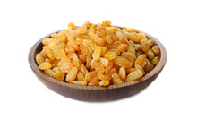 Bowl With Dried Golden Raisins Isolated On White. Healthy Nutrition With Fruits