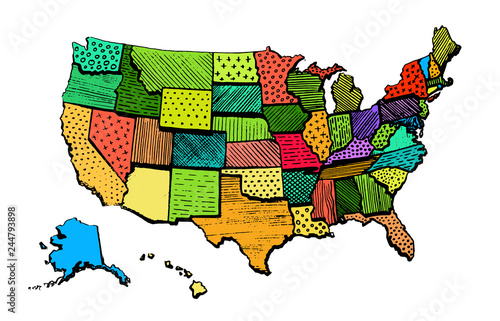 Color Art Map Of United States Of America Funny – kaufen Sie ...