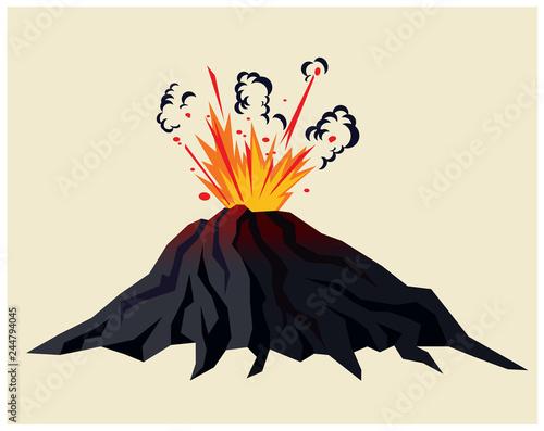 Volcano erupting Wallpaper Mural